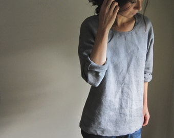 Linen Tunic, Linen Top, Stone Grey, Long Sleeve Blouse, Linen Clothing, Handmade to Order
