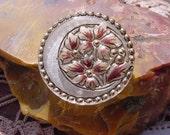 Copper Platinum Floral Crescent Czech Glass Button