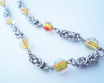 Yellow Green Red Glass Byzantine Chainmaille Necklace Handmade