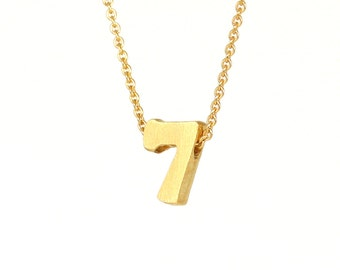 7 - block number necklace