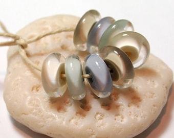 Handmade Glass Lampwork Beads - encased disks - Shoreline