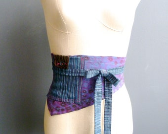 Purple Obi Belt, Asymmetric Belt, Unique Pocket Belt, Jersey Obi Belt, Hand Printed Belt, Handmade Accessory, Womens Accesory, Wearable Art