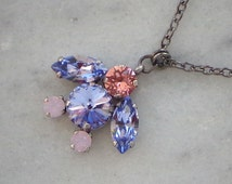 Swarovski crystal lovely lavender and pink navette fancy stone penguin pendant necklace,gunmetal plated chain