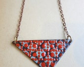 Red Enamel Triangle Necklace- Reversible