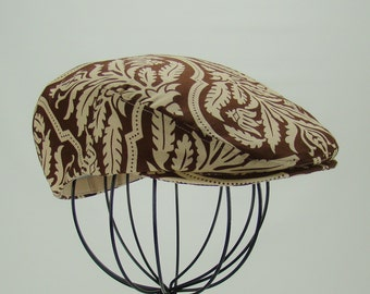 Brown Damask Print Cotton Jeff Cap, Flat Ivy Cap, Driving Cap - in Joel DewberryAviary Rose Damask Chocolate Fabric