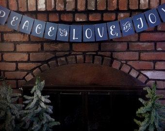 LOVE SALE Peace, Love and Joy Garland, star garland, fireplace decor, xmas banner, holiday decor, christmas banner, mantle decor, christmas