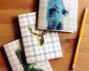 Spirit Animals travel notebook, travel diary, eco sketchbook, portable notebook, bullet journal, field notes, smart gift for him, stapled