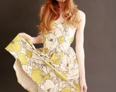 Strapless dress in Vintage Floral Cotton--Size 2 and 4
