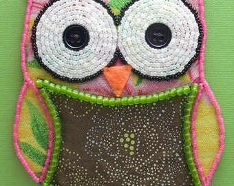 Bead Embroidered Owl // Tropical // Mixed Media Art // Beaded Painting // Seed Beads // Fabric
