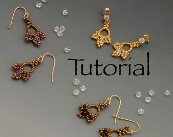 "Seed Bead Earrings Tiny Treasures (less than 1"" long!) Tutorial Digital Download"