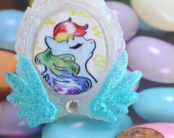 Pegasus Rainbow Dash Cameo in Handcase Resin Glitter Frame with Wings