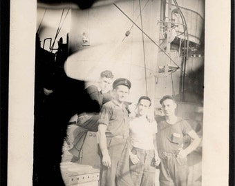 vintage photo Abstract Silhouette View to Sailors Double Exposure unusual