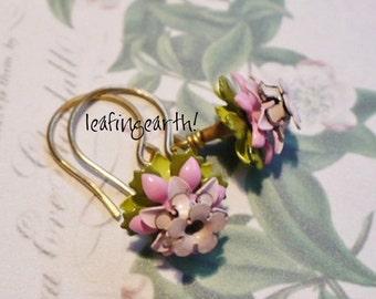 enamel flower earrings HELLEBORUS
