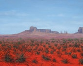 Southwestern Landscape Original painting red painting on canvas , 18 X 30, by Foust