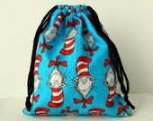 Dr. Seuss The Cat in the Hat Drawstring Bag,children crayons bag, kids storage bag, birthday goody bags, reusable fabric bag, gift bags