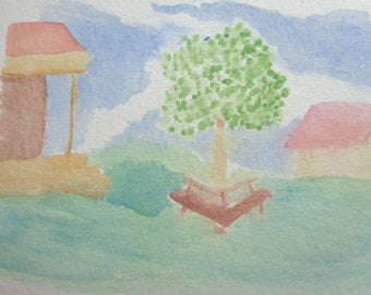Park scene, original painting, watercolour, watercolor, painting, small painting, gift idea, home decor