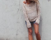 Pink Sweater, Loose knit, women's sweater, loose sweater, over-sized grunge sweater Pinkish cream (Milk pink), LTd Edition in this shade,