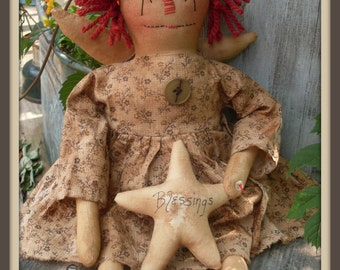 Primitive Raggedy Ann style Blessings Anne ePATTERN #162 INSTANT DOWNLOAD Hafair Faap