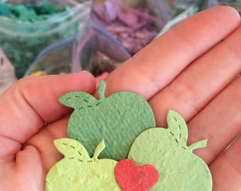100 Plantable Apples Seed Paper Confetti - Flower Seed Wedding Favors