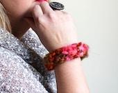 Bohemian knit Bangle Bracelet. Pink. Green. Textile bracelet. Boho Chic.