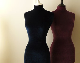 Female Display Mannequin Velvet Home Decor Dressform - Navy Blue