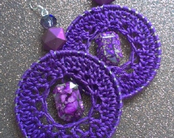 Crocheted Earrings- Royalty