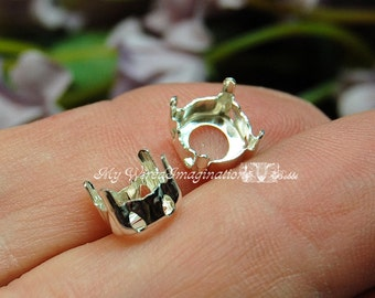 SOLID Sterling Silver Setting, 925 Sew On Setting, for 39ss-8mm Round Crystals & Gemstones, Solid Sterling, NOT Plated, Crystal Gem Settings