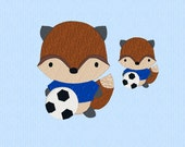 Fox playing Soccer in Two Sizes - Machine Embroidery Design File