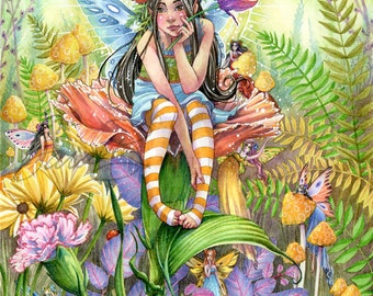 Fairy Art Print - Garden Fairies Playing Hide and Seek