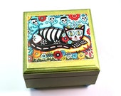 Small Jewelry Box, Cat Art Wood Box, Day of the Dead Decoupaged Trinket Ring Earring Box, Art Print, Turquoise Blue Green