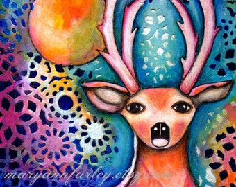 Stag Art Print, Deer Animal, Whimsical Art, Storybook, Woodland Art, Mixed Media, Moon, 8 x 10 or 5 x 6.5, Mixed Media, Pink Blue Multicolor