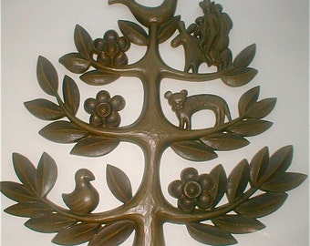 Green Tree of Life Wall Hanging Mid Century Modern Family and the Animals Dart Industries Vintage 1963 Made in USA