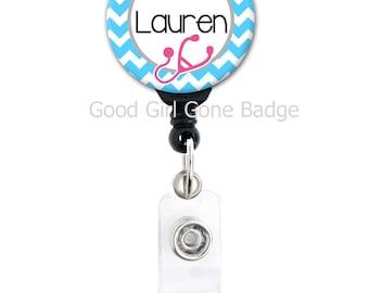 Personalized Badge Reel - Chevron Nurse Theme - Choice of Colors - RN LPN CMA etc Badge Holder
