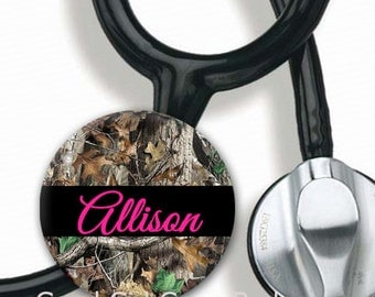 Stethoscope ID Tag - Personalized Name - Camo with Choice of Font and Color - Steth Tag