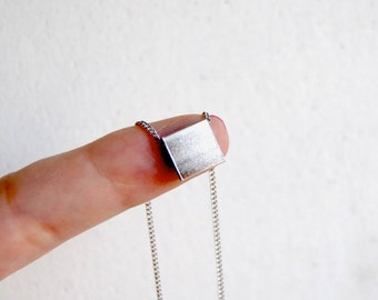 Tiny Silver Tab Necklace. Minimalist Geometric Square Charm. Short Silver Chain Choker. Simple Small Cube. Layering. FREE Shipping in US