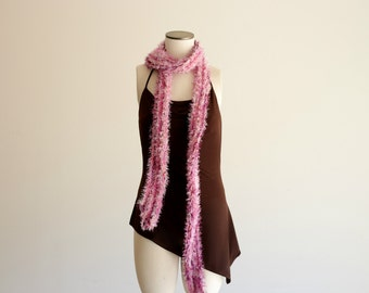 She's All Girl Pink Boa Skinny Scarf, Hand Knit with Purple, White - Extra Long, SEVEN FEET