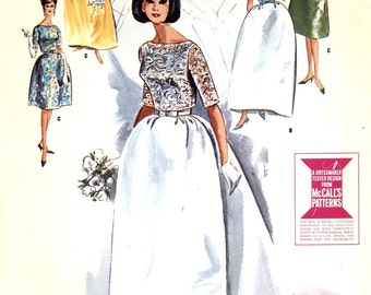 60s Mod Wedding dress bridesmaid dress or grad dress with our without train vintage sewing pattern McCalls 7082 Bust 34 or bust 31