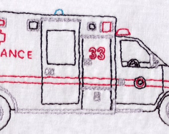 Ambulance Hand Embroidery Pattern