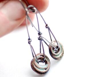 Robins Egg Blue Earrings, Rustic Jewelry, Enamel Earrings, Pastel Jewelry, Silver Jewelry, Long Dangle Earrings, Wirework, Sterling Silver