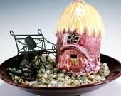 Stoneware Pottery Sunflower Fairy Cottage