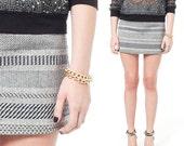 Grey Mini Skirt, Cotton Skirt, A Line skirt, Black and White Skirt, Modern Skirt, Woven Cotton skirt, iheartnorwegianwood, Simple Skirt