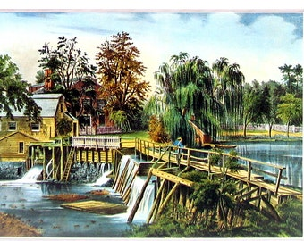 Small Currier and Ives Print - The Mill Dam at Sleepy Hollow - 1980 Vintage Book Page