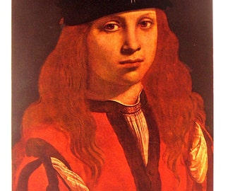 Classic Art Print - Portrait of a Youth by Boltraffio - Reproduction Painting - 1952 Vintage Book Page - 15 x 11