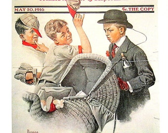 Large Norman Rockwell Print - Home Duty - Saturday Evening Post Cover - 1970 Vintage Book Page - 17 x 12