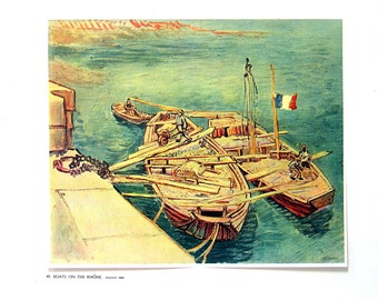 Van Gogh - Boats on the Rhone - 1941 Vintage Book Plate - Masterpiece Reproduction - 14 x 10