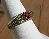 70% OFF Going Out of Business Sale.. Sterling Silver Ring with Genuine Garnet and Peridot  Size 5.75