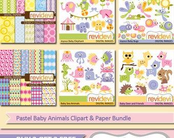Animals clipart in pastel colors / commercial use / Clipart and Digital Paper Bundle.. Pastel Baby Animals