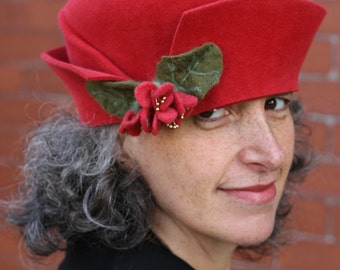 """Red Felt Hat - Twenties Style - One of a Kind - Furfelt and Merino wool Fowers- Size 22.5"""""""