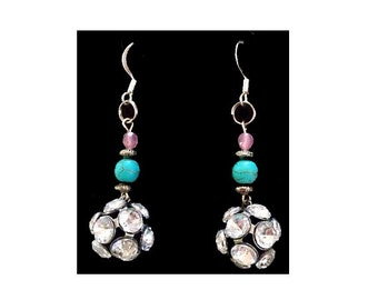 pink and turquoise rhinestone earrings, cowgirl chic