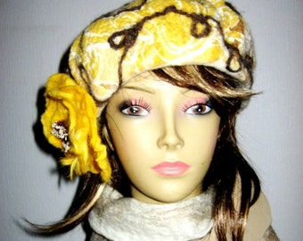 Hand FELTED HAT Women's  Winter Warm FELT Beret Yellow Brown with Felted Floral pin